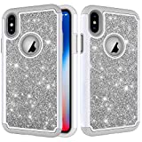 Folice iPhone Xs Case, Hybrid Heavy Duty Protection Shockproof Glitter Sparkly Bling Protective Cover Compatible with Apple iPhone X/iPhone 10 / iPhone Xs (Gray)