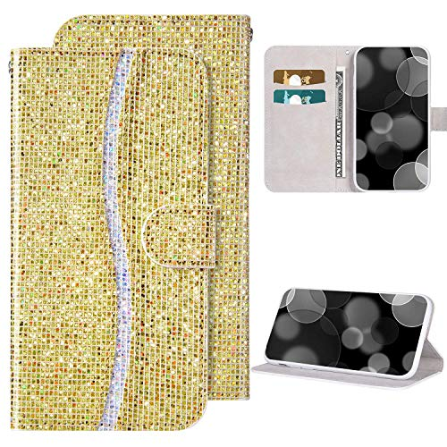 Coque Paillettes Etui Housse pour Galaxy A40, Galaxy A40 Coque Portefeuille en Cuir PU Etui à Rabat Fermeture Magnétique Cover, Brillante Glitter Bling Housse de Protection Flip Wallet Case,Or