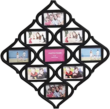 MKUN 4x6 Wall Photo Frame Collage - Diamond Shaped Wall Hanging Picture Frame Collage, 9- Opening (Black)
