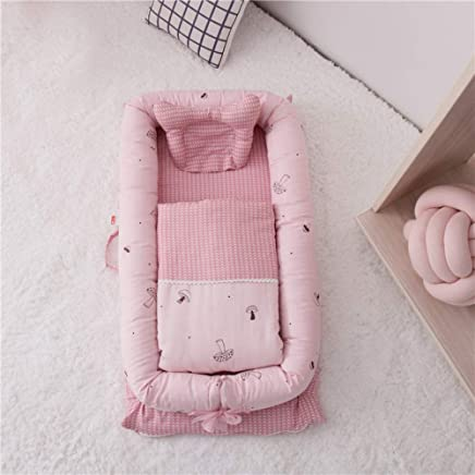 YANGGUANGBAOBEI Baby Lounger Soft Sleeping Cribs Cuddle Pads For Bed Portable Baby Nest for 0-48 Months Pink D
