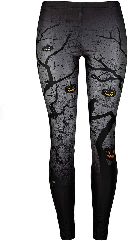GLUDEAR Women's Halloween Print High Waist Leggings Stretch Full Length Tights Workout Pants