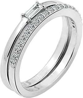 J'ADMIRE Swarovski Zirconia Ring Set of Clear Minimalist Baguette Solitaire Ring and Half Eternity Band Ring
