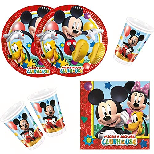 Procos 10108580 - Set para fiesta infantil - Disney Mickey Mouse - Playful Mickey, tamaño S, 36 piezas