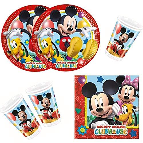 Procos 10108580B kinderpartyset Disney Mickey Mouse Playful Mickey, 36 stuks (8+8+20)