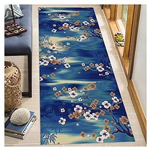 Siunwdiy Alfombra 3D Corredores de Alfombra para pasillos Sala de Estar Dormitorio Antideslizante Azul Amarillo Flor de Ciruelo Alfombra Larga Fibra de poliéster Lavable Cocina Pasillo,Azul,60x300cm