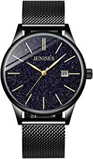 Jechin Men's Watches Chronograph Gold-Tone Luminous Wristwatch with Stainless Steel Band Gold-Tone