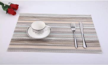 Anyasun Placemats, Waterproof Placemats for Dining Table Stain Resistant Washable PVC Table Mats,Heat Resistant Woven Kitchen Table Mats,Set of 4 Placemats (D)
