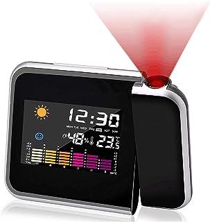 Reloj de proyección Digital,Mmester LED Alarma, Reloj Modern Reloj Despertador Colourful Pantalla LCD Estación USB Meteorológica Termómetro Higrómetro Funciones de Repetición (Negro)