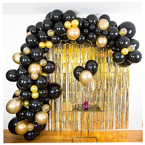 SHIMMER & CONFETTI Black and Gold Chrome Balloon Garland and Arch Kit with Confetti Balloons, Fishing Line, Balloon Tape, Tying Tools and Glue