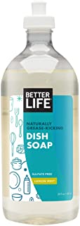 Better Life Sulfate Free Dish Soap, Tough on Grease & Gentle on Hands, Lemon Mint, 22 Ounces, 2406K