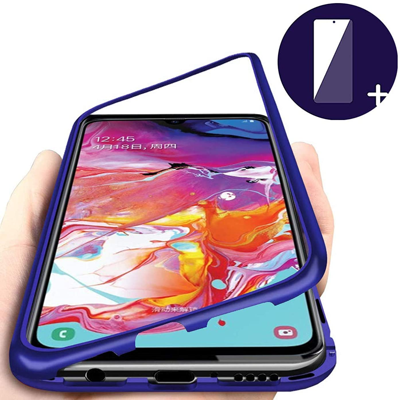 Case for Samsung Galaxy A70 Cover Magnetic Adsorption Tech Strong Magnet Built-in Aluminum Frame Anti Scratch Shockproof Metal Cover Packed Tempered Glass Screen Protector