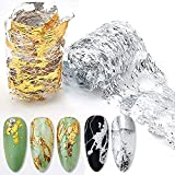 Gold Silver Foil Nail Art Holographic Aluminum Nail Foil Flakes Stickers Nail Sequins 3D Glitter Line Decoration DIY Design Accessories Rainbow Nail Art Supplies Gold Nail Decals