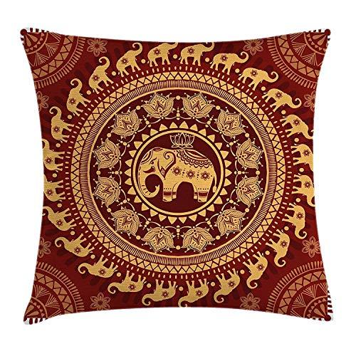 Butlerame Elefante Mandala Throw Pillow Cover, Tribal Mehndi Ethnic Backdrop with Lotus Flowers Guardian Animal, 18 x 18 Pulgadas, Borgoña y Amarillo