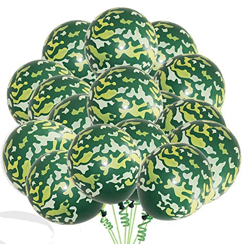 """Finypa Army Military Camouflage 30 Count Party Balloon Pack Military Balloons for Hunting Themed Party Military Celebrations- Large 12"""" Latex Balloons"""