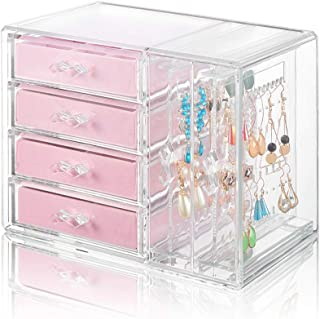 Jewelry Organizer 4 Drawers 2 Earring Hanger Two-in-one, Clear Rings Bracelets Necklaces Box for Women, Girls Gift Pink