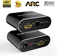 AuviPal 4K HDMI Audio Extractor, HDMI to HDMI with Audio (Optical Toslink SPDIF + 3.5mm AUX Stereo), Support 4K@60Hz 1080P Full HD 3D - Black