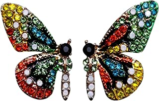 FENICAL Butterfly ear stud crystal studs gift for girls dating gift (green butterfly)