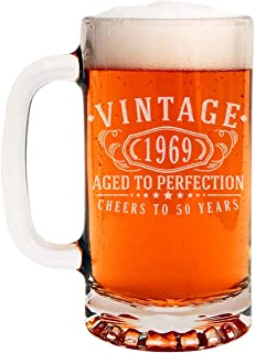Vintage 1969 Etched 16oz Glass Beer Mug - 50th Birthday Aged to Perfection - 50 years old gifts