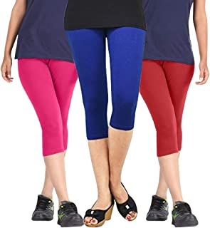 Pixie Capri Leggings | 3/4th | Pants | Combo Pack of 3 for Women/Girls/Ladies (Pink, Blue and Red) - Free Size