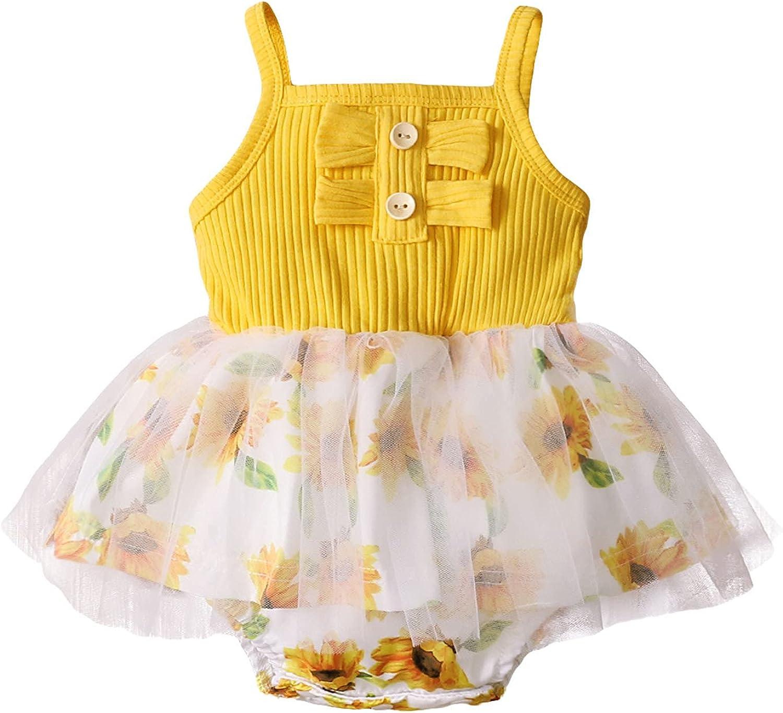 Eoailr Newborn Ranking TOP12 Max 69% OFF Infant Baby-Girls Romper Printe Sunflower Bowknot