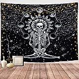 Dremisland Cráneo Tapiz de Pared Meditación Esqueleto Tapices Eclipse de Luna Colgante de Pared Blanco y Negro Cielo Estrellado Mandala Tapiz para Sala de Estar (M / 130 X 150 cm)