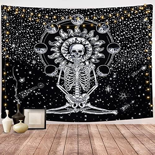 Dremisland Crâne Tapisserie Murale Méditation Tapisseries Squelette Lune Eclipse Tenture Murale Noir et Blanc Étoilé Nuit Ciel Tapisserie pour Salon Chambre (Crâne, M / 148x200cm)