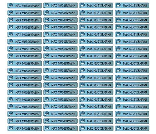 Stifteaufkleber für Bleistifte, Kugelschreiber & weitere Namensaufkleber - Aufkleber 49x7,5mm | 72 Stück Kinder & Erwachsene Schule & Kindergarten 37 Hintergründe in Auswahl (36 Delfin)