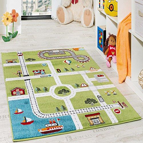 Paco Home Kinderteppich Spielteppich City Hafen Straßenteppich Stadt Straße Grau Grün, Grösse:80x150 cm