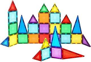 مجموعة من 35 قطعة من لَبنات البناء المغناطيسي الاصلية المفضلة لدى الاطفال بالوان شفافة، تعتبر من العاب البناء التعليمية وا...