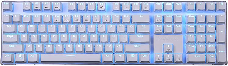 Qisan 100% Full Size 108 Keys Mechanical Keyboard Gaming Keyboard GATERON Black Switch Ice Blue Backlight Case White Magicforce