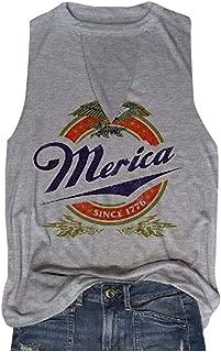 Women Merica Since 1776 Tank Sleeveless Racerback Tanktops Vest T-Shirt