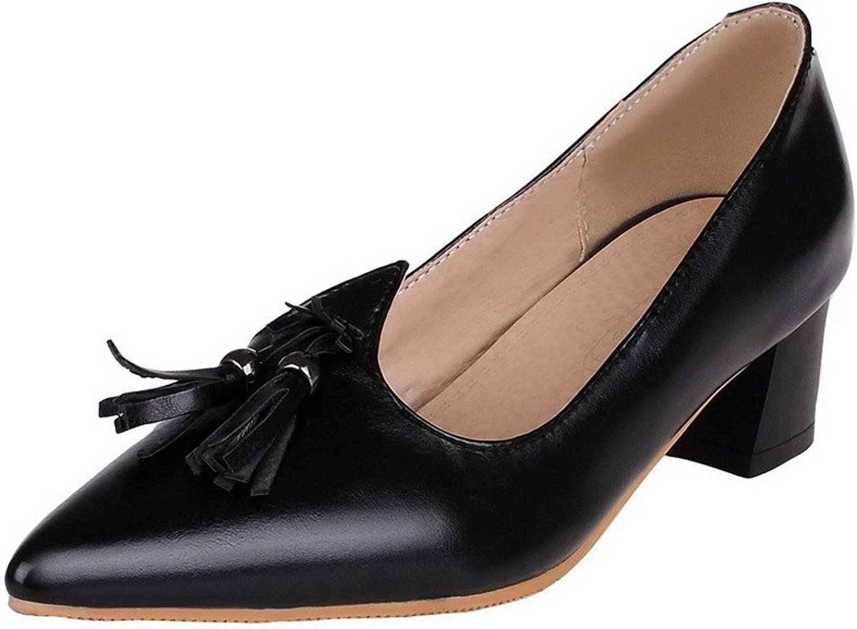 WeenFashion Women's Pointed-Toe Kitten-Heels Pu Soild Court shoes