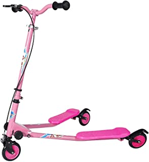 AODI Swing Scooter Foldable Wiggle Kick Scooters Self Propelling Speeder Outdoor Sports with Height Adjustable Handlebar for Boys/Girl/Kids 4-10 Year