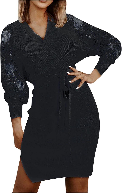 Women Kaftan Knitted Bodycon Dresses, Grace Sexy V Neck Slim Fit Lace Lantern Long Sleeve Fall Cocktail Prom Slit Dress