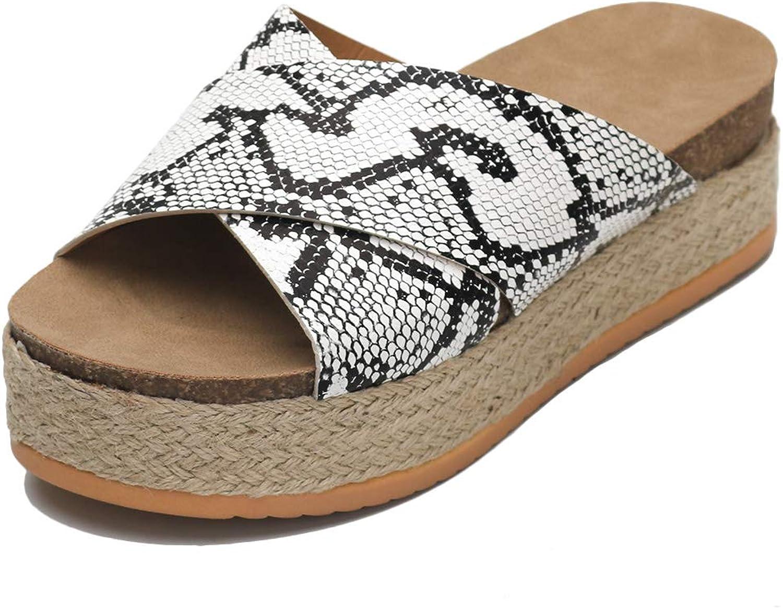 SaraIris Women's Espadrille Sandal Slide Platform Slipper