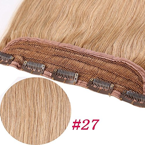 Extension Capelli Veri Clip Fascia Unica 50cm 50g #27 Biondo Scuro One Piece Remy Human Hair Lisci Lunghi