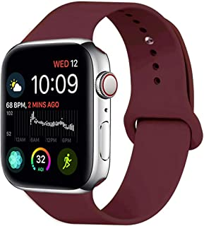 MOOLLY for Watch Band 38mm 40mm, Soft Silicone Watch Strap Replacement Sport Band Compatible with Watch Band Series 5 Series 4 Series 3 Series 2 Series 1 Sport & Edition (38mm 40mm S/M, Wine Red)