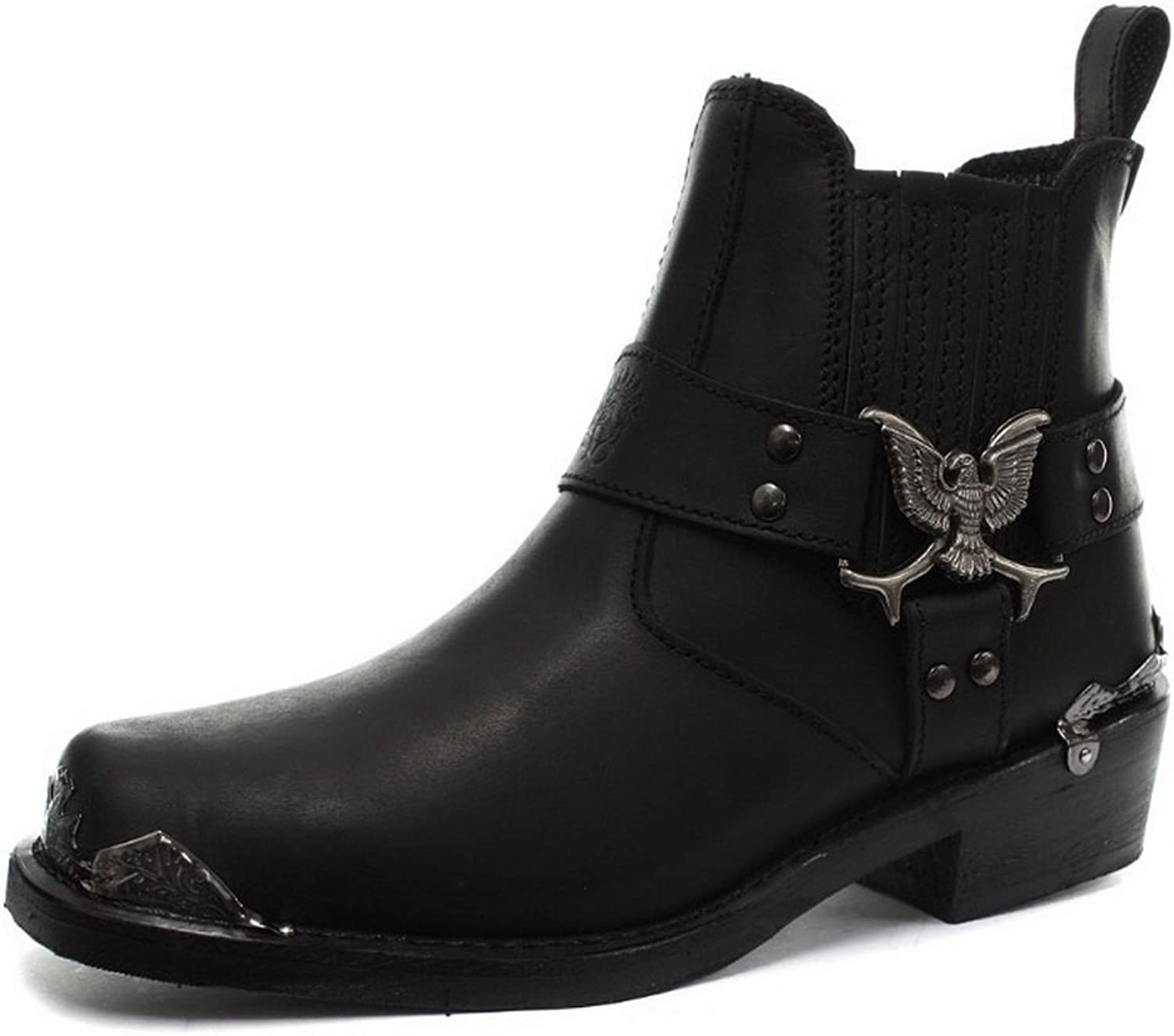 Grinders Eagle Emblem Ankle Biker Stylish Black Boots with Visible Steel Toe Cap