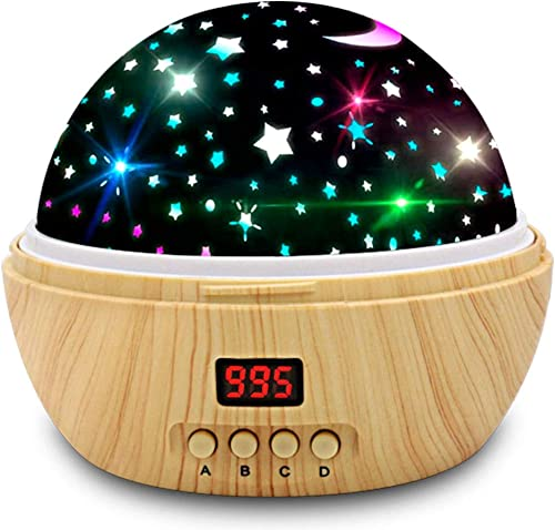 Star Projector Night Light, Wood Grain LED Bedroom Light Projector with 5-995 Minutes Timer Auto-Shut Off, Colorful S...