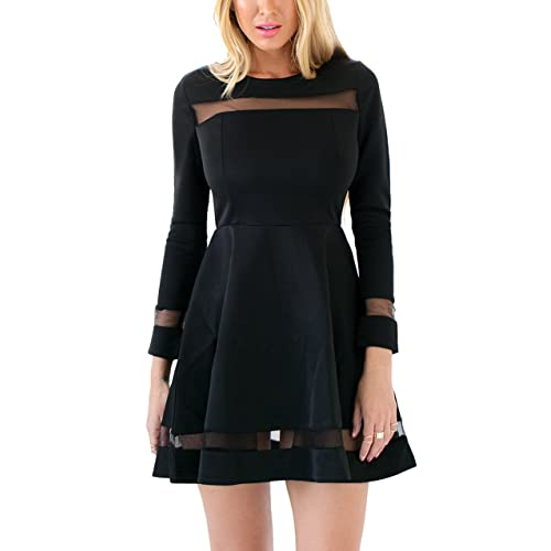 597a4ed0e5e2 GRAPENT Womens Black Cocktail Long Sleeve Mesh A-Line Skater Short Dress  Casual
