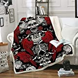 Yayang Gothic Skull Black Blanket Red Wings Rose Flower Fleece Warm Sherpa Throw Blankets for Adults and Kids Man Women Fuzzy Plush Cotton Blanket for Bed Couch Sofa Chair Office (59' x 79')