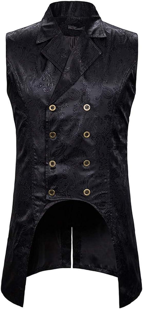Mens Paisley Dress Vest Gothic Steampunk Waistcoat Floral Sleeveless Tailcoat