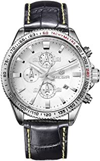 Gecheer 3ATM Water Resistant Fashion Wristwatch Leather Strap Pin Buckle Noctilucent Quartz Men Watch with Calendar