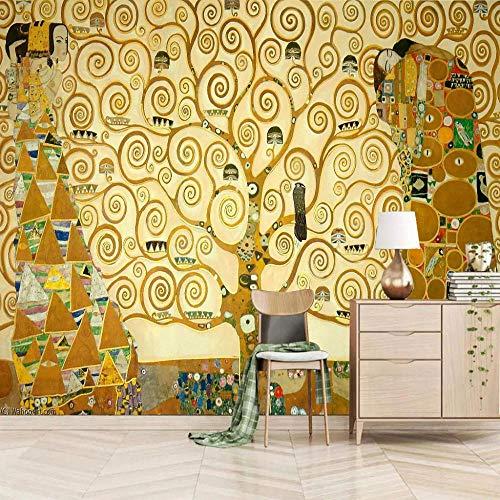 Carta da parati adesiva muro L\'albero della vita di Klimt 3D Fotomurale Tessuto non Tessuto Murale Foto Carta da Parati Soggiorno Camera da Letto Cameretta Ragazzi Decorazione 250x175cm