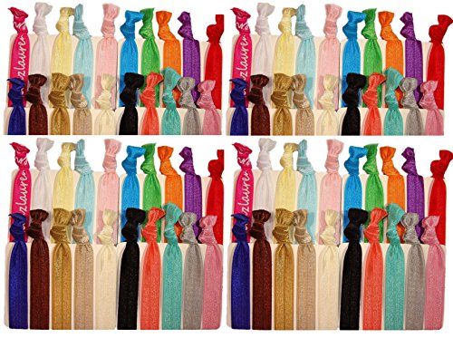 Hair Ties Ponytail Holders - 50 Pack'Solid Assortment' No Crease Ouchless Stretchy Elastic Styling Accessories Pony Tail Holder Ribbon Bands - By Kenz Laurenz