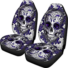 ZERODATE Purple Car Seat Covers Set of 2 Punk Skull Vehicle Seat Protector Car Covers for Auto Cars Sedan SUV Automotive Interior