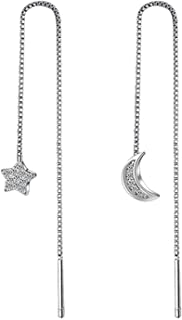 S925 镀银方晶锆石不规则月亮和明星女士耳线夹吊坠耳环