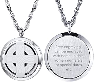 PROSTEEL Essential Oil Diffuser Locket Stainless Steel Pendant Necklace, Personalized Customize Necklace for Men Women