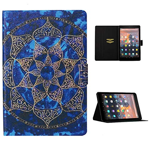 Cestor Flip Tablet Case for Amazon Kindle Paperwhite 1/2/3/4,Ultra Slim Premium Colorful Print PU Leather [Multi-Angle View] Folio Stand Wallet Cover with Auto Wake/Sleep,Blue Mandala