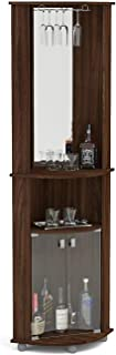 Boahaus Corner Bar, 2 Glass Door, Mirrowed Wall, Glass Rack Dark Brown/Wood